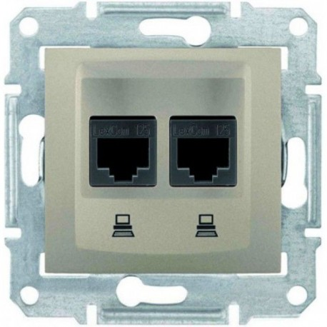 Розетка телефонна RJ11, 2-на, 4 контакти, колір титан, Sedna