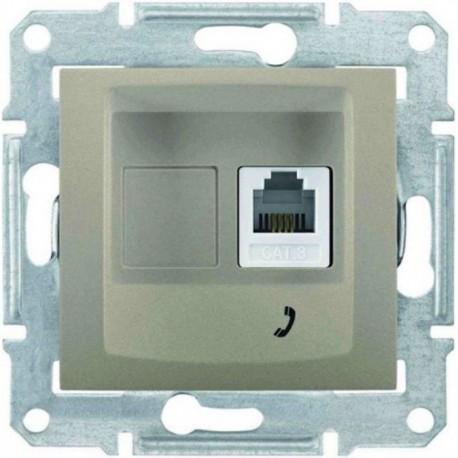 Розетка телефонна RJ11, 1-на, 4 контакти, колір титан, Sedna