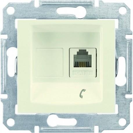 Розетка телефонна RJ11, 1-на, 4 контакти, колір слонова кістка, Sedna
