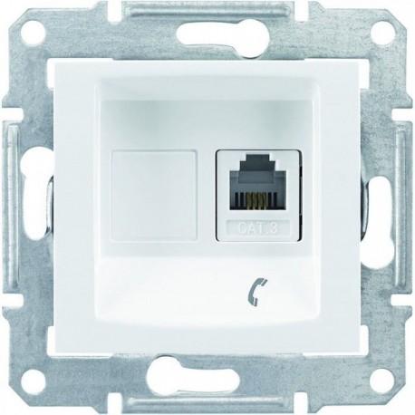 Розетка телефонна RJ11, 1-на, 4 контакти, колір білий, Sedna