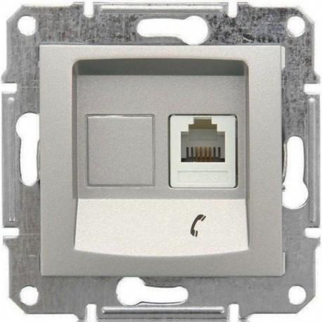 Розетка телефонна RJ11, 1-на, 4 контакти, колір алюміній, Sedna