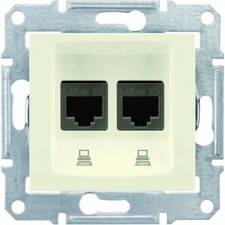 Розетка комп'ютерна RJ45 кат. 5 UTP, 2-на, колір слонова кістка, Sedna