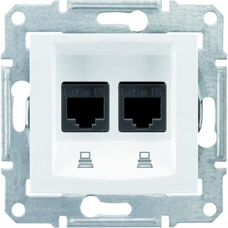 Розетка комп'ютерна RJ45 кат. 5 UTP, 2-на, колір білий, Sedna