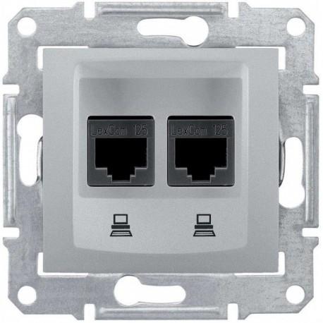 Розетка компьютерная RJ45 кат. 5 UTP, 2-ная, цвет алюминий, Sedna SDN4400160