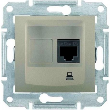 Розетка комп'ютерна RJ45 кат. 5 UTP, 1-на, колір титан, Sedna