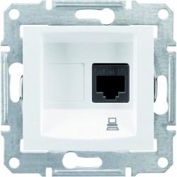 Розетка компьютерная RJ45 кат. 5 UTP, 1-ная, цвет белый, Sedna