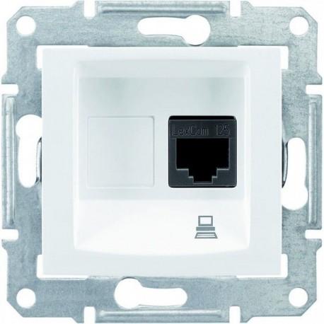 Розетка комп'ютерна RJ45 кат. 5 UTP, 1-на, колір білий, Sedna