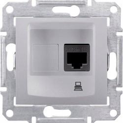 Розетка компьютерная RJ45 кат. 5 UTP, 1-ная, цвет алюминий, Sedna