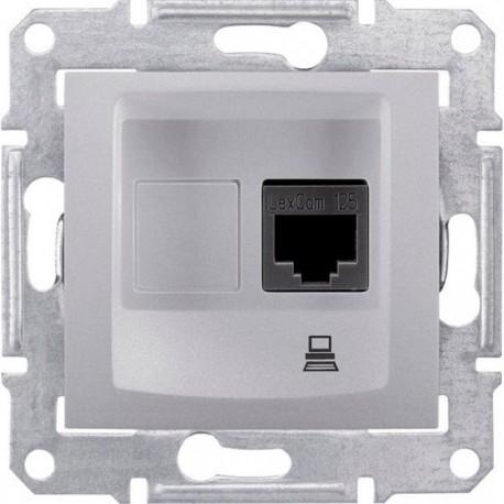 Розетка компьютерная RJ45 кат. 5 UTP, 1-ная, цвет алюминий, Sedna SDN4300160