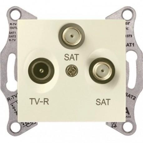 Розетка TV/R/SAT проходная, цвет слоновая кость, Sedna SDN3501423