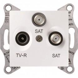 Розетка TV/R/SAT проходная, цвет белый, Sedna