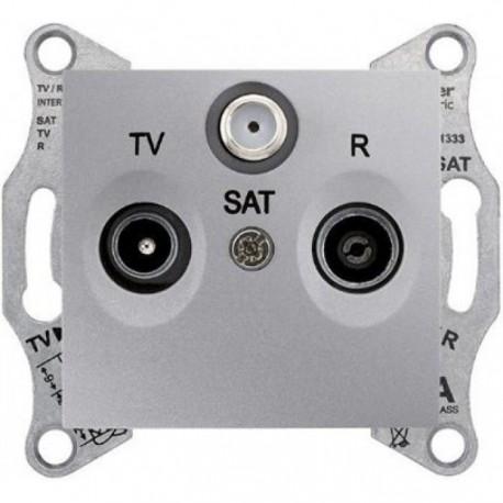 Розетка TV-R-SAT прохідна, колір алюміній, Sedna