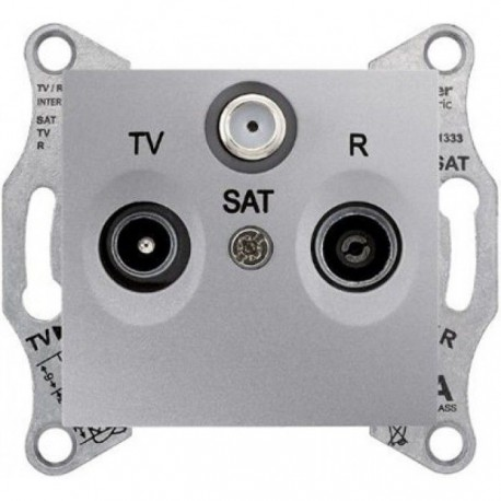 Розетка TV/R/SAT проходная, цвет алюминий, Sedna SDN3501460