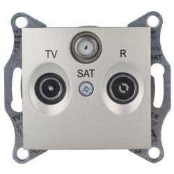 Розетка TV/R/SAT проходная, цвет титан, Sedna