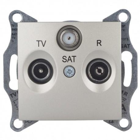 Розетка TV/R/SAT проходная, цвет титан, Sedna SDN3501468