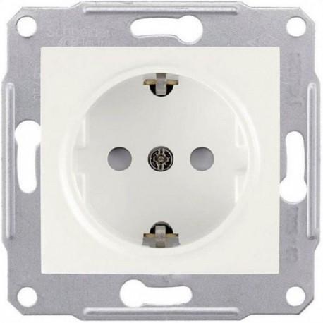 Розетка 2К + З, 16А, з шторками, колір білий, Sedna