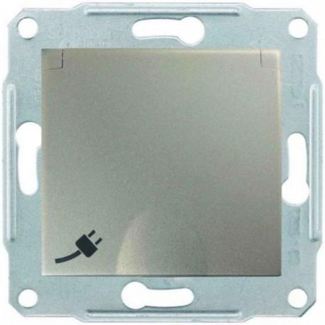 Розетка 2К + З, 16А, з кришкою, колір титан, Sedna