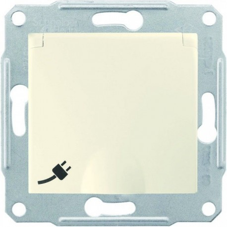 Розетка 2К+З, 16А, с крышкой, цвет слоновая кость, Sedna SDN3100123