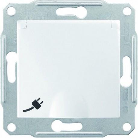 Розетка 2К + З, 16А, з кришкою, колір білий, Sedna