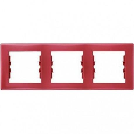 Рамка 3-на, колір червоний, Sedna