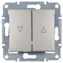Выключатель для жалюзи 2-кл. с эл. блокировкой, цвет алюминий, Sedna