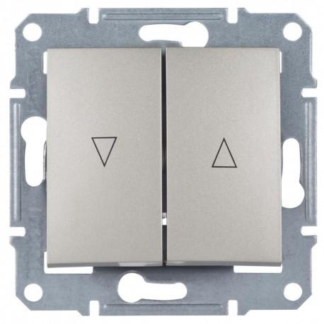 Выключатель для жалюзи 2-кл. с эл. блокировкой, цвет алюминий, Sedna SDN1300160