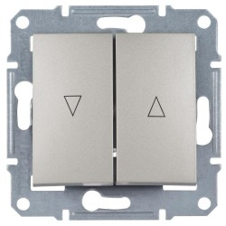 Выключатель для жалюзи 2-кл. с мех. блокировкой, цвет алюминий, Sedna