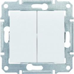 Выключатель 2-кл., цвет белый, Sedna