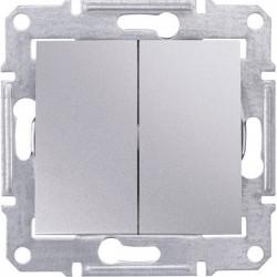 Выключатель 2-кл., цвет алюминий, Sedna