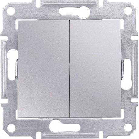 Выключатель 2-кл., цвет алюминий, Sedna SDN0300160