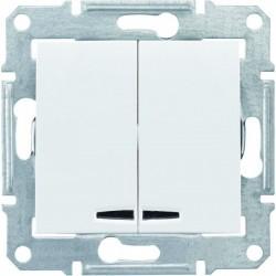 Выключатель 2-кл. с подсветкой, цвет белый, Sedna