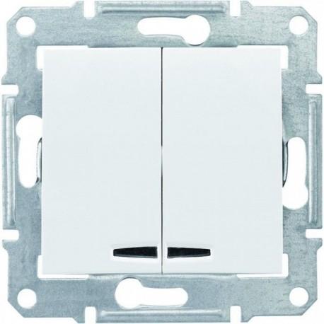 Выключатель 2-кл. с подсветкой, цвет белый, Sedna SDN0300321