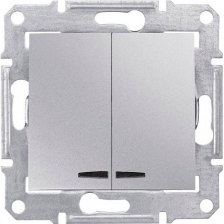 Выключатель 2-кл. с подсветкой, цвет алюминий, Sedna SDN0300360