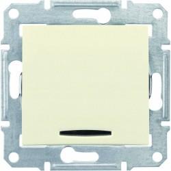Выключатель 1-кл. с подсветкой, цвет слоновая кость, Sedna SDN0400323