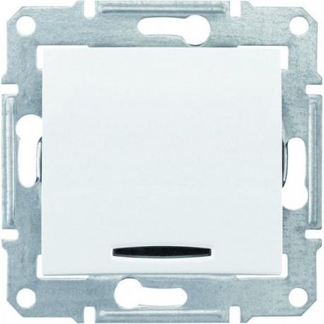 Выключатель 1-кл. с подсветкой, цвет белый, Sedna
