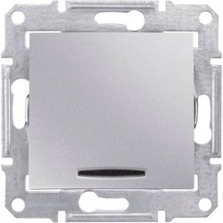 Выключатель 1-кл. с подсветкой, цвет алюминий, Sedna SDN0400360