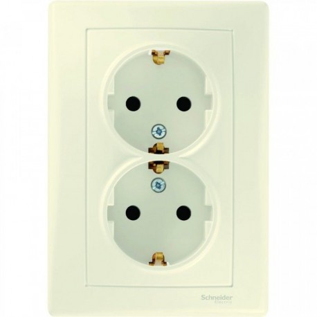 Розетка 2-на 2К + З, з шторками, колір слонова кістка, Sedna