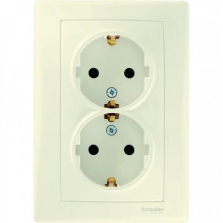 Розетка 2-ная 2К+З, со шторками, цвет слоновая кость, Sedna SDN3000423