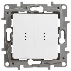 Выключатель 2- клавишный, с подсветкой, цвет белый, Legrand Etika