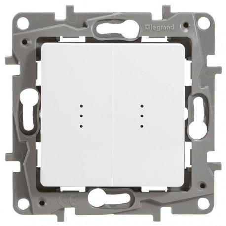 Выключатель 2- клавишный, с подсветкой, цвет белый, Legrand Etika 672204