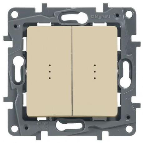 Выключатель 2- клавишный, с подсветкой, цвет слоновая кость, Legrand Etika 672304