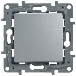 Кнопка 1-клавишная, цвет алюминий, Legrand Etika 672414