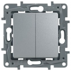 Переключатель 2- клавишный, цвет алюминий, Legrand Etika