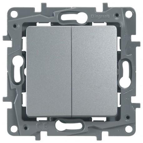 Переключатель 2- клавишный, цвет алюминий, Legrand Etika 672412