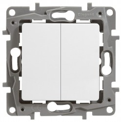 Переключатель 2- клавишный, цвет белый, Legrand Etika