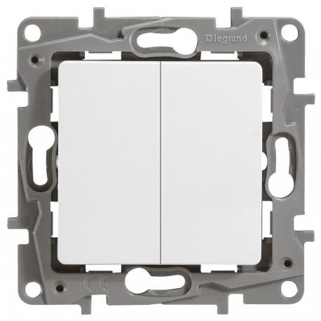 Перемикач 2 клавішний, колір білий, Legrand Etika