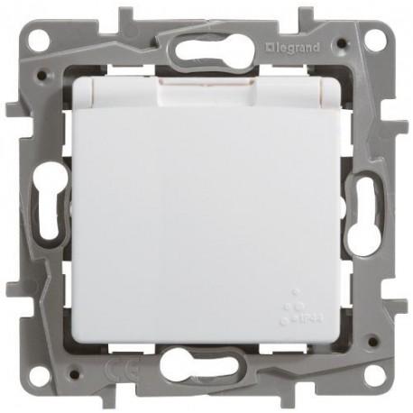 Розетка 2К + З, 16А, з кришкою, ІР44, колір білий, Legrand Etika