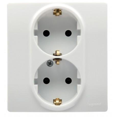 Розетка 2х2К + З, зі шторками, колір білий, Legrand Etika