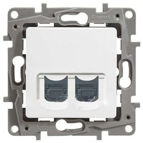 Розетка компьютерная RJ45, ка. 5 UTP, 2-ная, цвет белый, Legrand Etika 672254