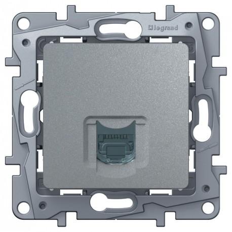 Розетка компьютерная RJ45, кат.5 UTP, 1-ная, цвет алюминий, Legrand Etika 672453